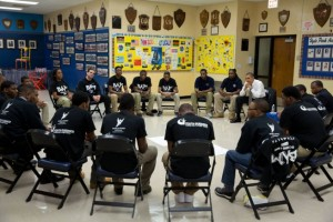 President Obama speaks with students at Hyde Park Career Academy