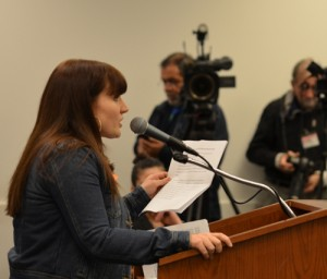 Katie Osgood at the BOE meeting. Substance photo by George Schmidt